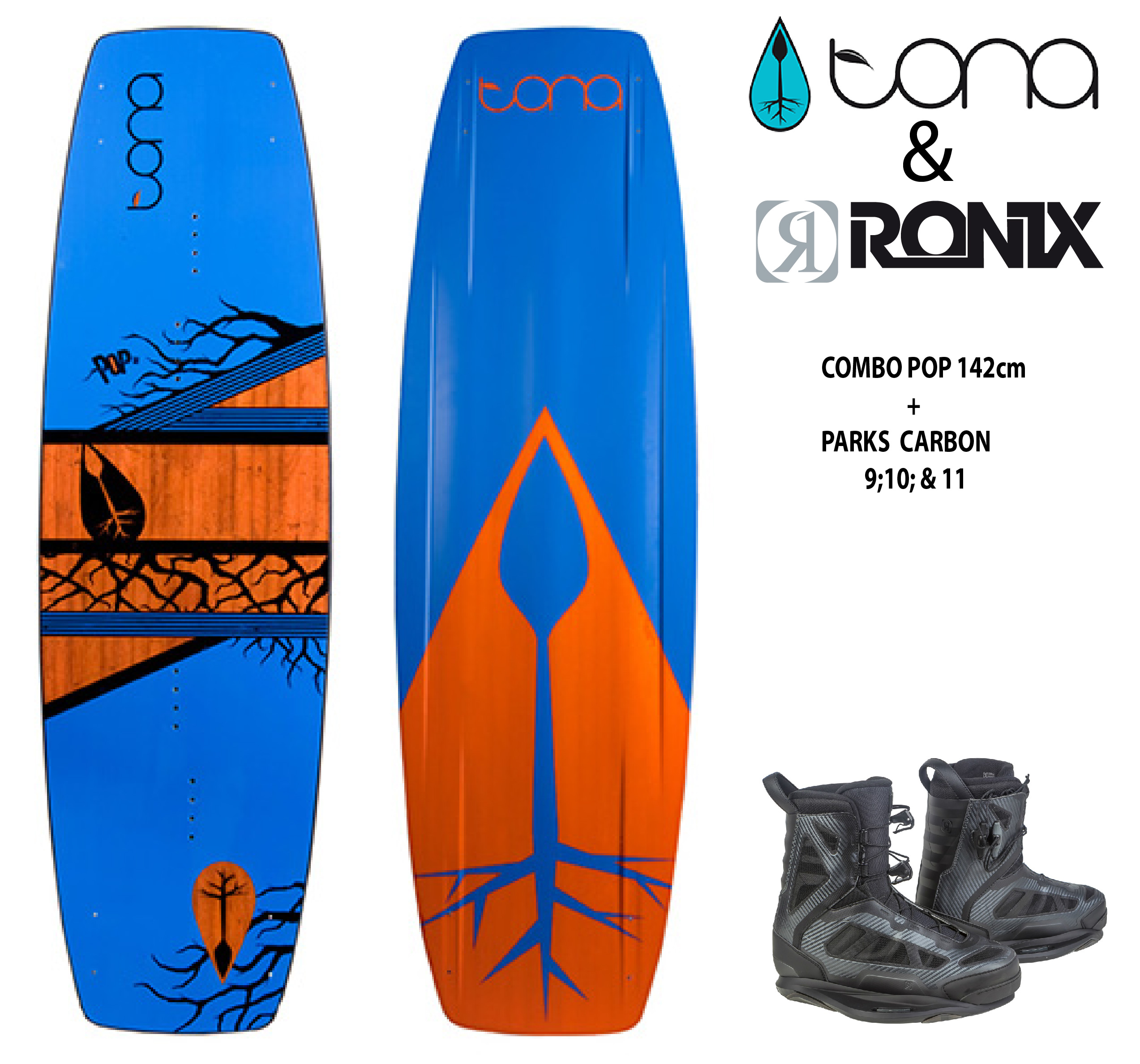 Combo Tona Pop 142cm c/Ronix Parks Chrome