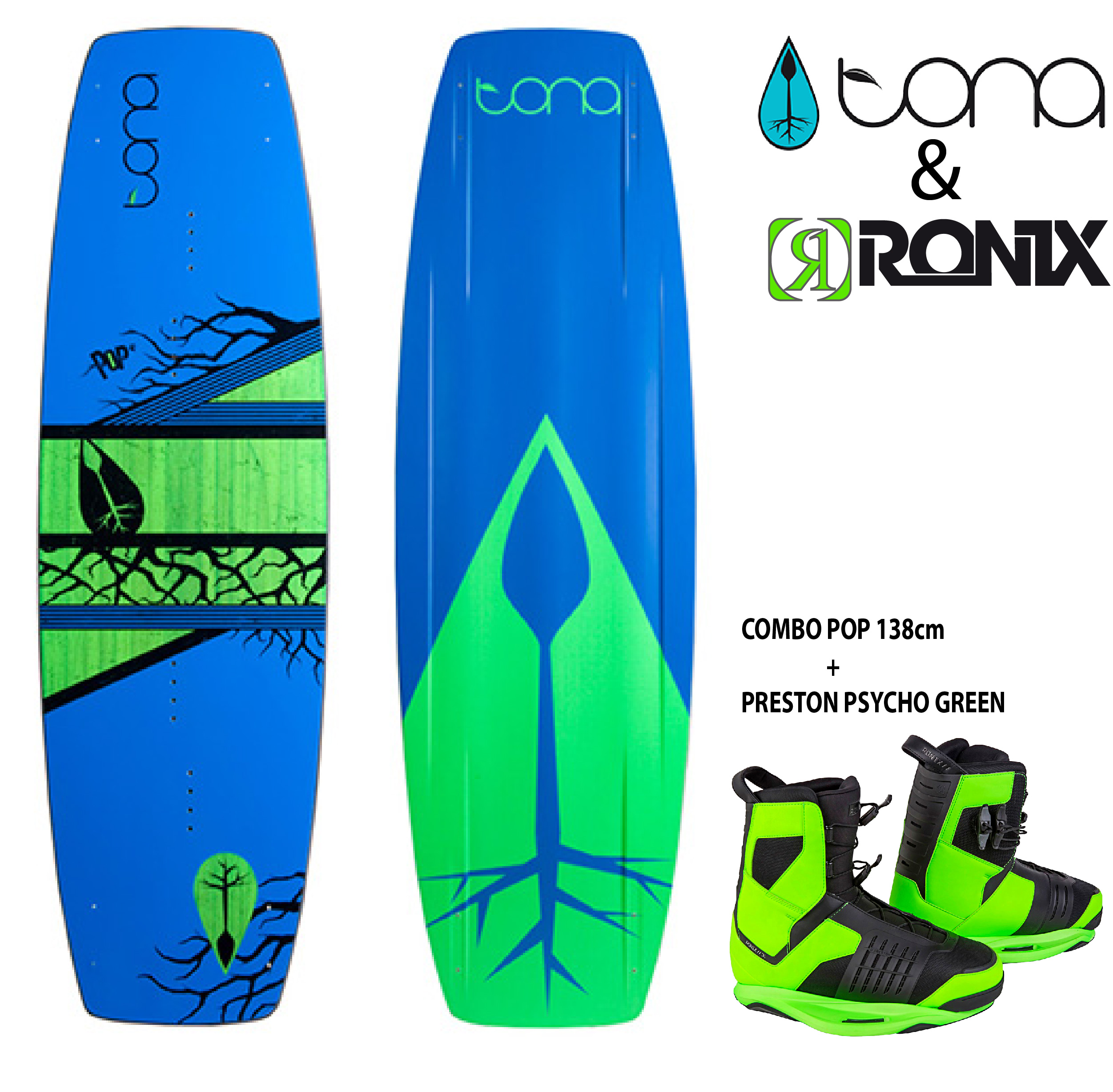 Combo Tona Pop 138cm c/Ronix Preston Psycho Green