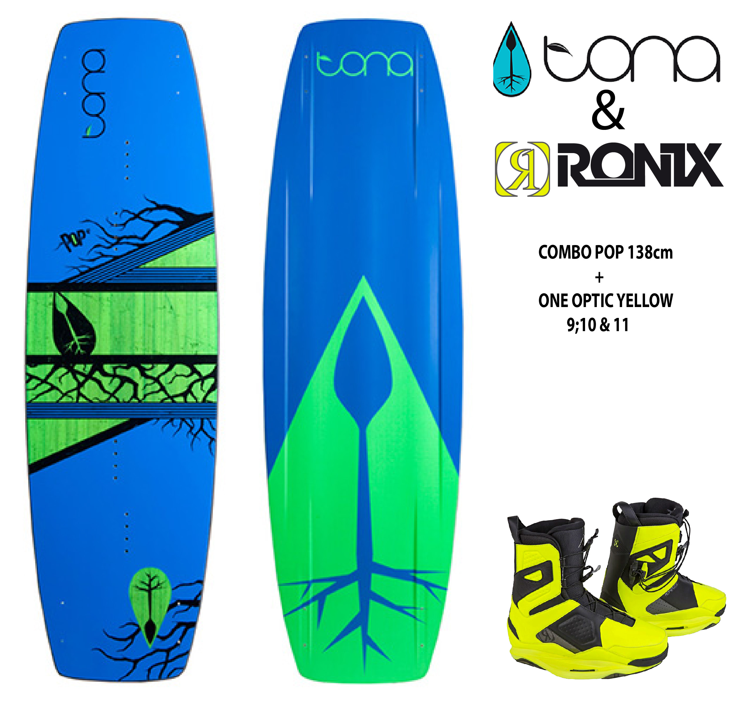 Combo Tona Pop 138cm c/Ronix One Nuclear Yellow