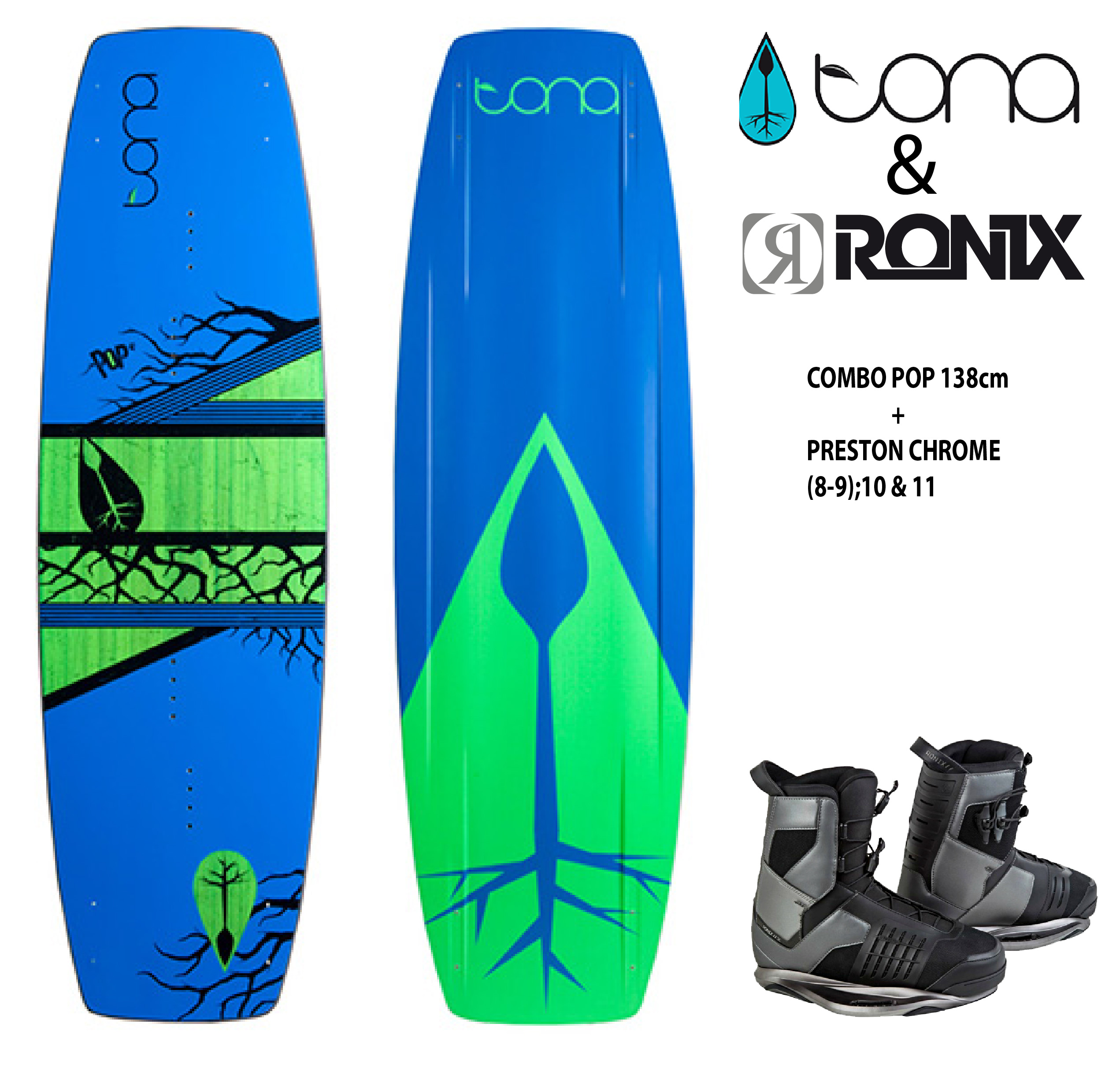 Combo Tona Pop 138cm c/Ronix Preston Chrome