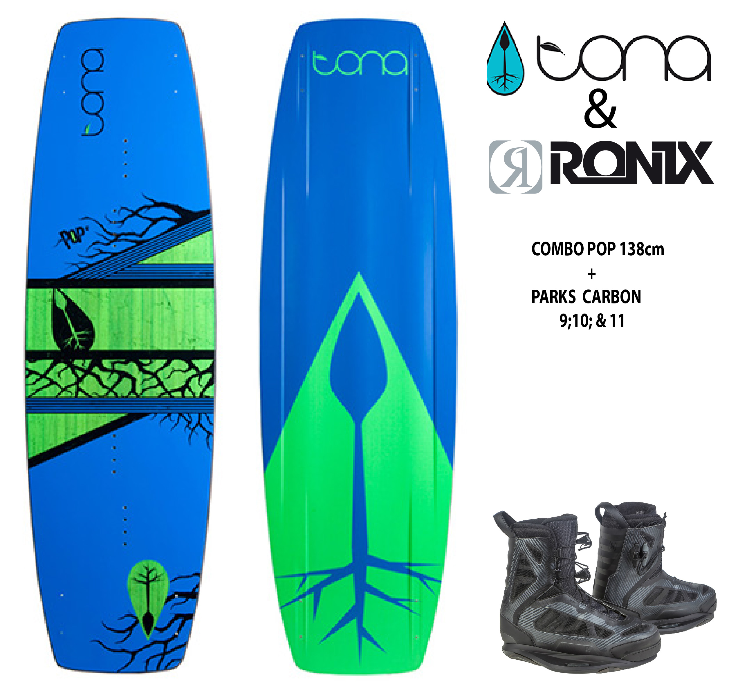 Combo Tona Pop 138cm c/Ronix Parks Chrome
