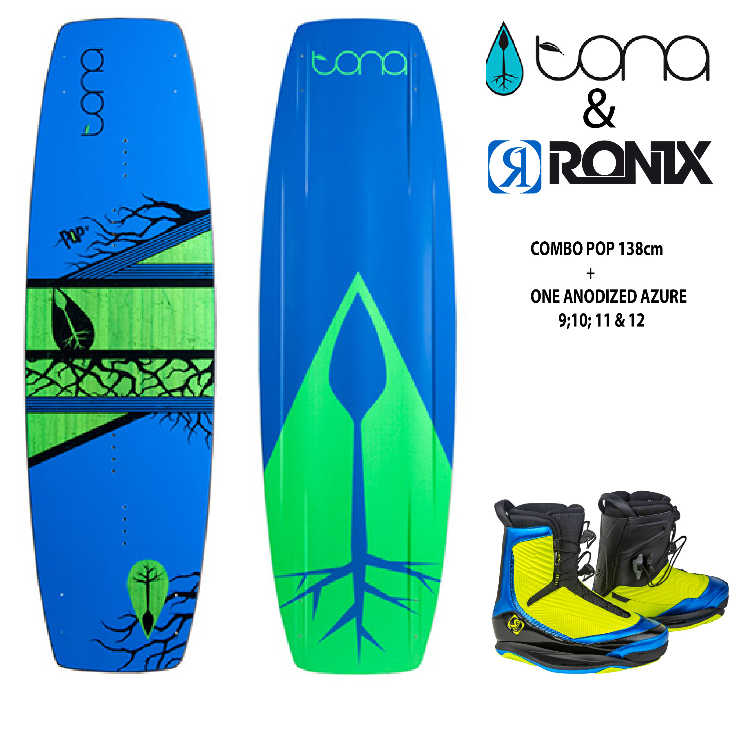 Combo Tona Pop 138cm c/Ronix One Blue